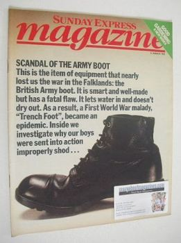 Sunday Express magazine - 13 March 1983 - Scandal Of The Army Boot cover