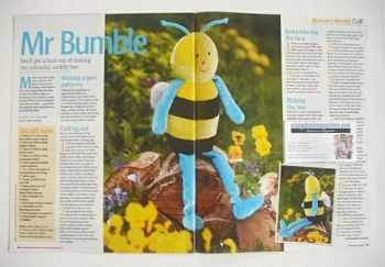 Mr Bumble Bee toy sewing pattern