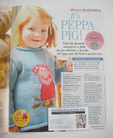 Peppa Pig sweater to knit (to fit ages 2-5 years)