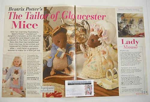 Beatrix Potter The Tailor of Gloucester Mice knitting patterns (by Alan Dar