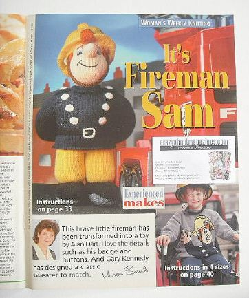 Fireman Sam toy knitting pattern and sweater (by Alan Dart and Gary Kennedy