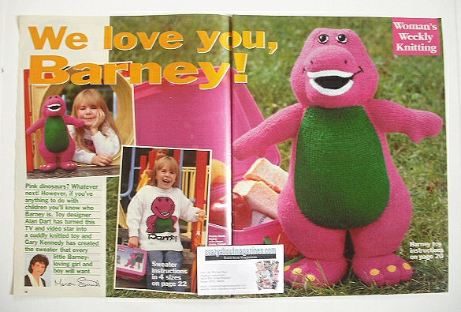 Barney toy and sweater knitting pattern (designed by Alan Dart)