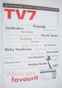 TV7 magazine - 20-26 October 2001 - Who's Your Favourite cover