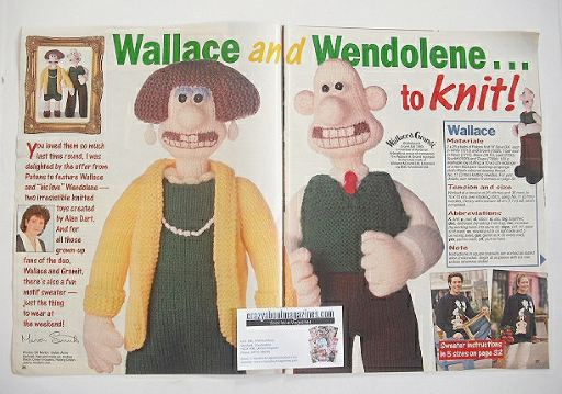 Wallace and Wendolene toy and sweater knitting patterns (by Alan Dart)