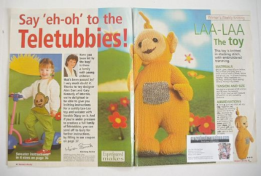Teletubbies Knitting Pattern : Teletubbies Laa-Laa toy and Dipsy sweater knitting pattern (by Alan Dart and ...