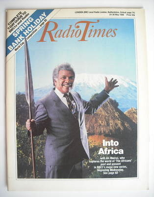 <!--1986-05-24-->Radio Times magazine - Into Africa cover (24-30 May 1986)