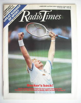 <!--1986-06-21-->Radio Times magazine - Boris Becker cover (21-27 June 1986