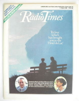 Radio Times magazine - Denholm Elliott and Anna Massey cover (1-7 March 1986)