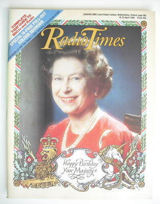 <!--1986-04-19-->Radio Times magazine - Queen Elizabeth 60th Birthday cover