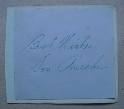 Don Ameche autograph (hand-signed piece of paper)