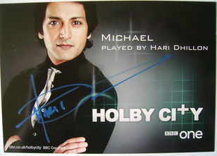Hari Dhillon autograph (hand-signed Holby City cast card)