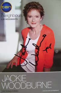 Jackie Woodburne autograph (Neighbours actor)