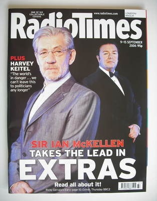 <!--2006-09-09-->Radio Times magazine - David Bowie and Ricky Gervais cover