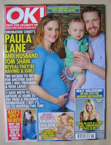 <!--2016-04-19-->OK! magazine - Paula Lane and Family cover (19 April 2016