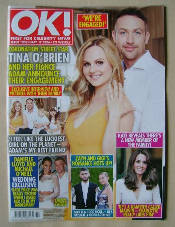 <!--2016-05-17-->OK! magazine - Tina O'Brien and Adam Crofts cover (17 May