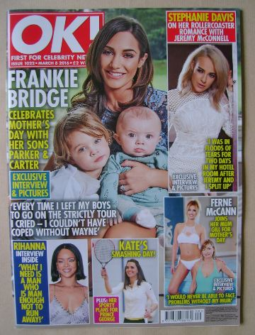 <!--2016-03-08-->OK! magazine - Frankie Bridge and Sons cover (8 March 2016