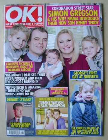 <!--2016-01-19-->OK! magazine - Simon Gregson and Family cover (19 January