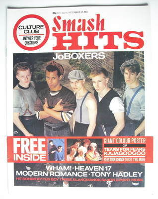 <!--1983-05-12-->Smash Hits magazine - JoBoxers cover (12-25 May 1983)