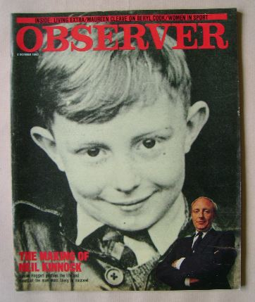 <!--1983-10-02-->The Observer magazine - Neil Kinnock cover (2 October 1983