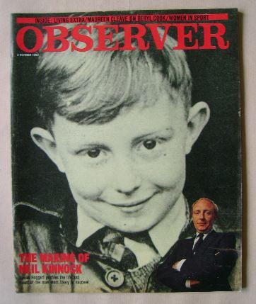 <!--1983-10-02-->The Observer magazine - Neil Kinnock cover (2 October 1983