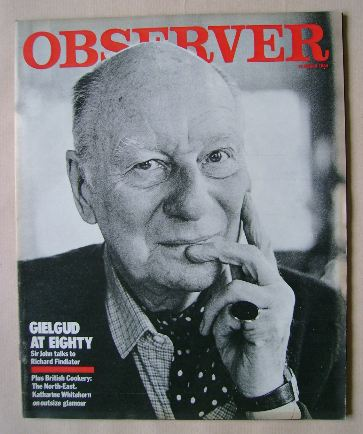 <!--1984-03-13-->The Observer magazine - Sir John Gielgud cover (13 March 1