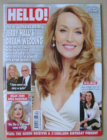 <!--2016-03-07-->Hello! magazine - Jerry Hall cover (7 March 2016 - Issue 1