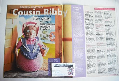 Beatrix Potter Cousin Ribby toy knitting pattern (designed by Alan Dart)