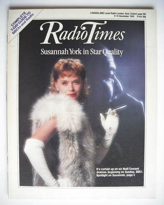 <!--1985-11-09-->Radio Times magazine - Susannah York cover (9-15 November