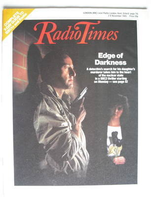 <!--1985-11-02-->Radio Times magazine - Edge of Darkness cover (2-8 Novembe