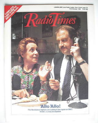 <!--1985-10-19-->Radio Times magazine - Gorden Kaye and Carmen Silvera cove