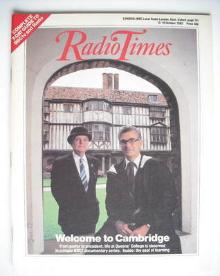 <!--1985-10-12-->Radio Times magazine - Welcome to Cambridge cover (12-18 O