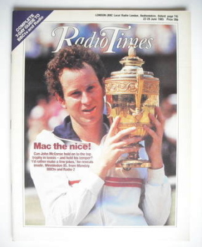 Radio Times magazine - John McEnroe cover (22-28 June 1985)