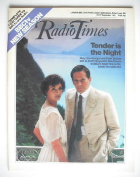 Radio Times magazine - Mary Steenburgen and Peter Strauss cover (21-27 September 1985)