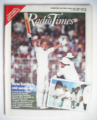 <!--1985-06-01-->Radio Times magazine - David Gower cover (1-7 June 1985)