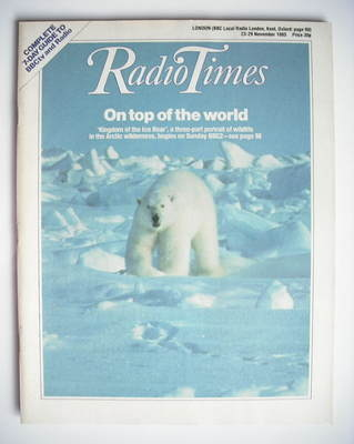 <!--1985-11-23-->Radio Times magazine - On Top Of The World cover (23-29 No