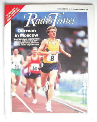 <!--1985-08-17-->Radio Times magazine - Steve Cram cover (17-23 August 1985