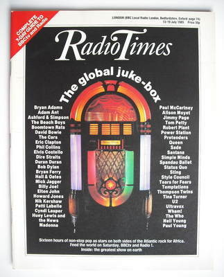 <!--1985-07-13-->Radio Times magazine - The Global Juke-Box cover (13-19 Ju
