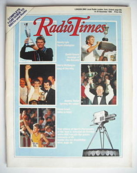 Radio Times magazine - Sports Personality Of The Year cover (14-20 December 1985)