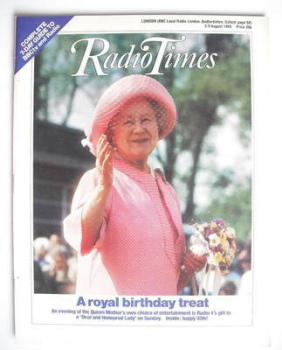 Radio Times magazine - The Queen Mother cover (3-9 August 1985)