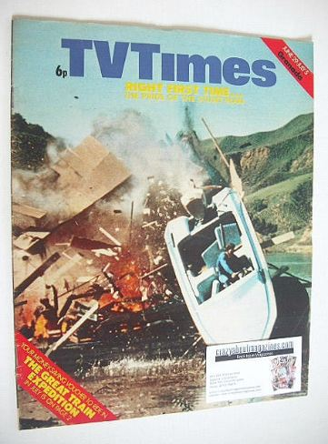 <!--1974-06-29-->TV Times magazine - Stunt Man cover (29 June - 5 July 1974