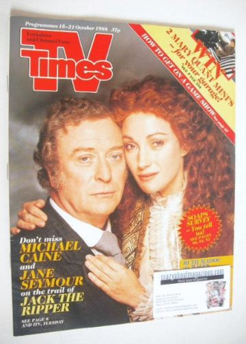 <!--1988-10-15-->TV Times magazine - Jane Seymour and Michael Caine cover (
