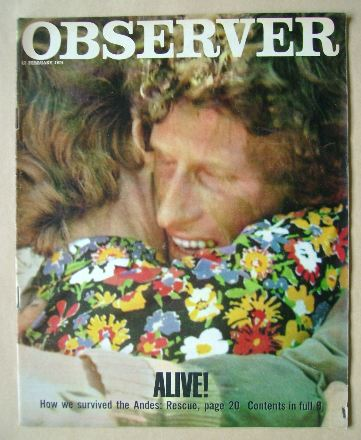 <!--1974-02-17-->The Observer magazine - Alive! cover (17 February 1974)