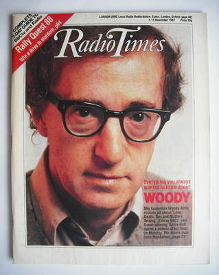<!--1987-11-07-->Radio Times magazine - Woody Allen cover (7-13 November 19