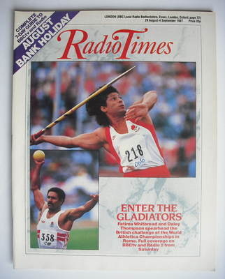 <!--1987-08-29-->Radio Times magazine - Fatima Whitbread and Daley Thompson