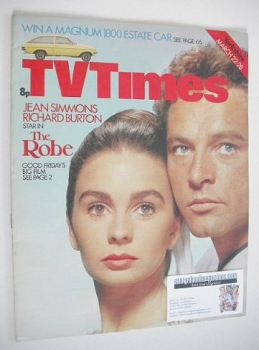 TV Times magazine - Jean Simmons and Richard Burton cover (22-28 March 1975)