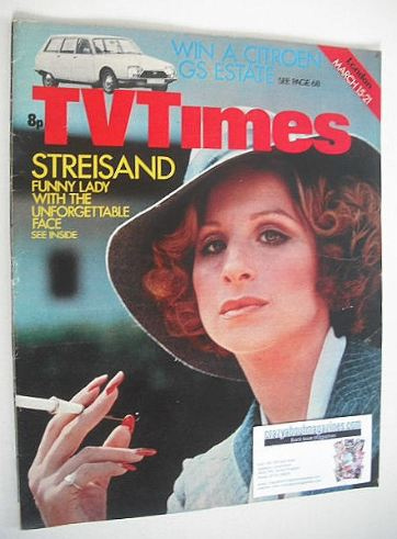 <!--1975-03-15-->TV Times magazine - Barbra Streisand cover (15-21 March 19