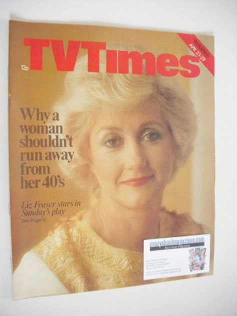 <!--1977-04-23-->TV Times magazine - Liz Fraser cover (23-29 April 1977)
