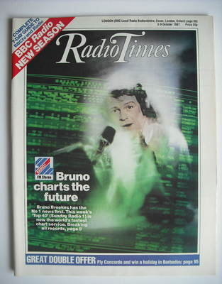 <!--1987-10-03-->Radio Times magazine - Bruno Brookes cover (3-9 October 19