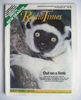 <!--1987-09-19-->Radio Times magazine - Lemur cover (19-25 September 1987)
