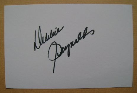 Debbie Reynolds autograph (hand-signed white card)